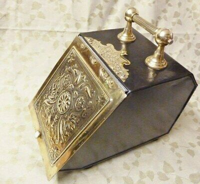 antique victorian coal scuttle brass steel with shovel victorian display prop