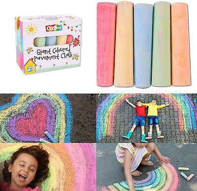 BEST DEAL Kids 15 Pcs Jumbo PAVEMENT CHALKS 5 Assorted Colours Gift Water Clean