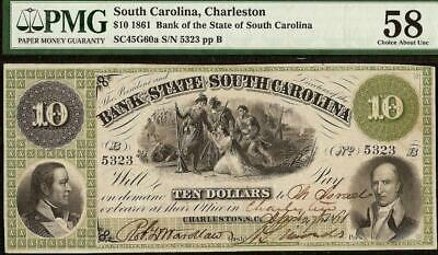 1861 $10 Dollar South Carolina Bank Note Large Currency Old Paper Money Pmg 58