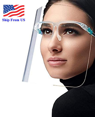 Face Shield Guard Protector Glasses Clear Reusable Mask Bandana SHIP FROM US