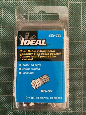 Ideal #85-035 RG-59 F Twist-On Connector - 10 Pieces New