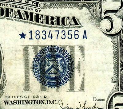 ** STAR ** $5 1934 D  Silver Certificate MORE PAPER CURRENCY FOR SALE