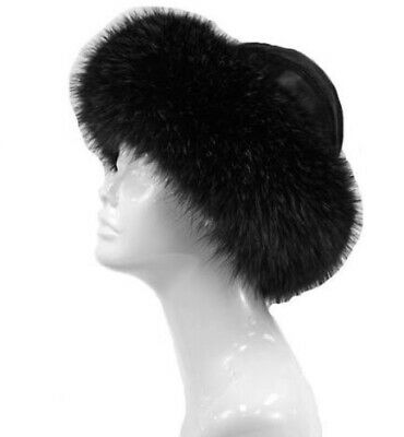 Mitchies Matchings Women's Leather Hat With Real Fur Trim EUC
