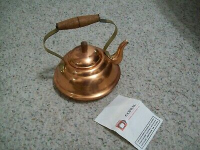 Copral Tea Kettle Pot Copper & Brass Made in Portugal Wood Handle