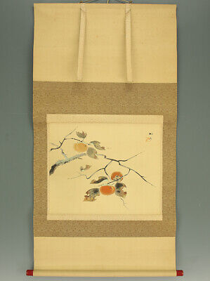 "掛軸1967 JAPANESE HANGING SCROLL : BAISEN ""Persimmon""  @f382"