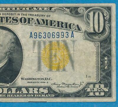 $10. 1934-A North Africa Yellow Seal Silver Certificate