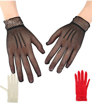 4 Color soft sexy Hollow bride dance gloves Women's elastic gloves nightclub
