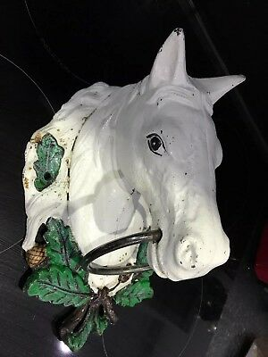 "Vintage Huge Cast Iron Horse Head Hitching Ring Hand Painted 11"" X7"""