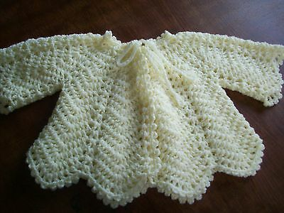 New Hand Crochet Baby Matinee Jacket / Coat Lemon Wool Size 0-6 Mths