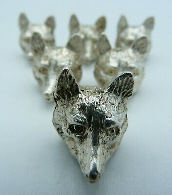 Set of 6 Cased Silver Fox Place Card / Menu Holders (Hunting, Country Pursuits)