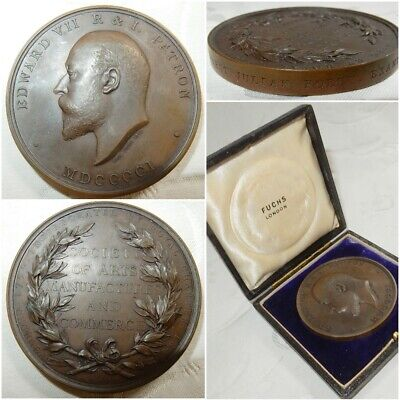 1902 BRONZE MEDAL - ECONOMICS AWARD SOCIETY OF ARTS By EMIL FUCHS - CASED - EF