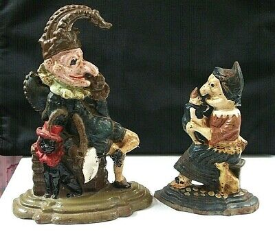 Vintage Punch And Judy Cast Iron  Doorstops