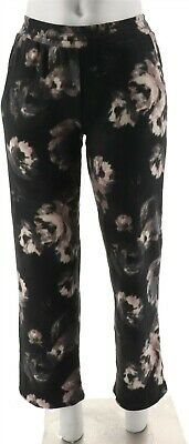 Cuddl Duds Fleecewear Stretch Relaxed Lounge Pants Black Floral XL NEW A293098