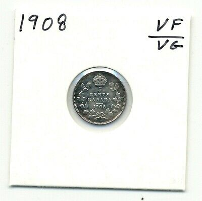 Coins. Canada. Five Cents. 1908 Large 8 Very Good