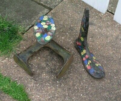 Antique Cast Iron Shoe Lasts Door Stops Barge Ware Painted