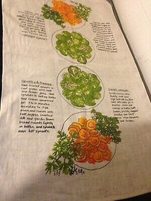 Vintage Vera Vegetable Recipes Kitchen Tea Towel