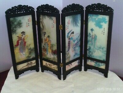 Fab Japanese Small Plastic Screen With Four Seasons On 23 Cms Tall 36 Cms Long