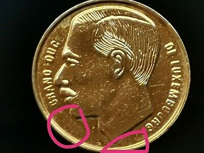 Very Rare LUXEMBOURG 1 FRANC 1991 ERROR Gold Plated  Coin