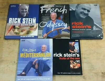 5 DELICIOUS COOKING BOOKS by RICK STEIN  ** FREE UK POST ** HB & PB