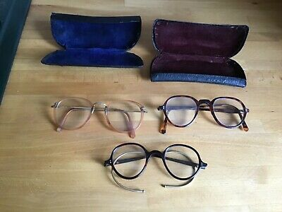 Three Pairs Antique Spectacles Gold , Tortoiseshell Frames