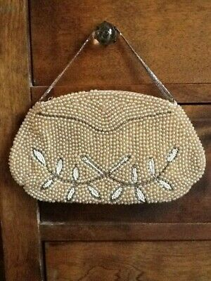 Vintage Antique Art Deco Beaded Purse 1920's 1930's    Maybe Silver Chain