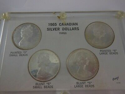 1965 Canadian Silver Dollar Variety Set of 4 Coins - No Reserve!