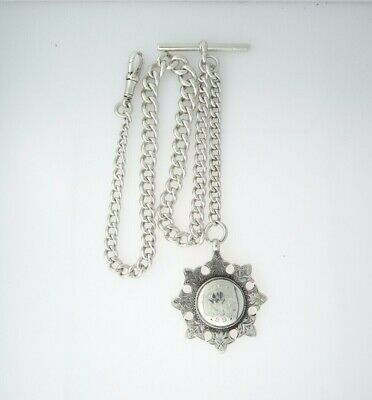 SILVER SINGLE GRADUATED ALBERT CHAIN with Medal & T-BAR Hallmarked 1895/97