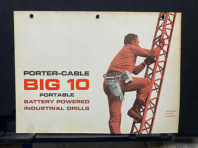 Vtg Rockwell Brochure ~ Porter-Cable Big 10 Battery Powered Drills 1962
