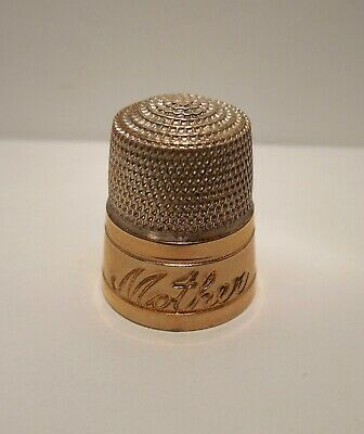 Vintage - Engraved Mother - Sterling Silver & Yellow Gold - Thimble - Size 12
