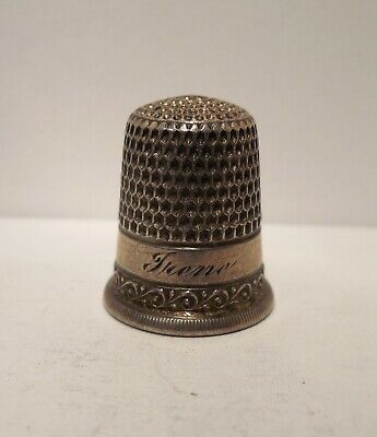 Vintage-Antique-Simons Brothers-Engraved Frene-Sterling Silver-Thimble-Size 7