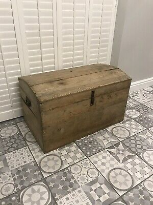 Antique Stripped Pine Dome Storage Chest/blanket Box