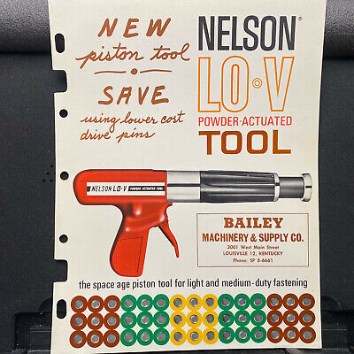 Vtg Nelson Powder-Actuated Tools Brochure Bulldog Anchors Fasteners Lot