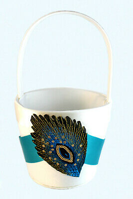 Peacock Wedding Satin Flower Basket with Shimmering Feather Patch