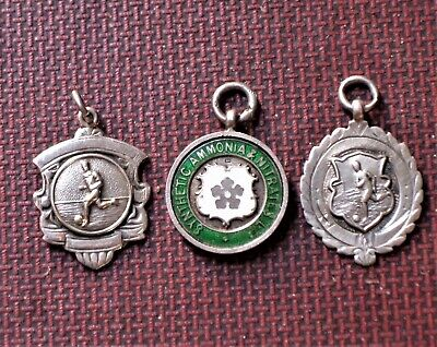 Antique / vintage football / cricket silver fobs / medals. One enamelled. (3)
