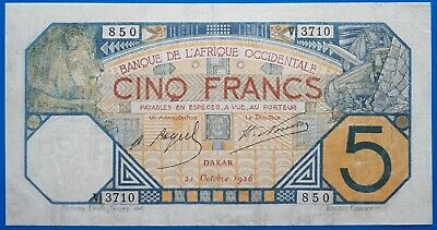 French West Africa ; 5 francs 1926, P-5Bc, VF/VF+
