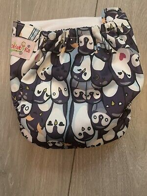 OHBABYKA Penguin PRINT reuseable cloth nappy PRELOVED GREAT CONDITION