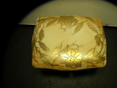 Hand Painted Porcelain And Signed Nippon Japan Gold Trimmed Floral Pin Tray Box
