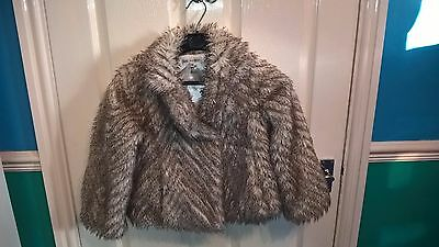 Immaculate Girls Autograph 7-8 Years Light Brown Faux Fur Coat Marks & Spencer