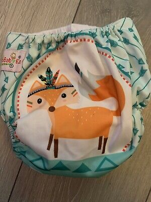 OHBABYKA FOXES PRINT reuseable cloth nappy PRELOVED GREAT CONDITION
