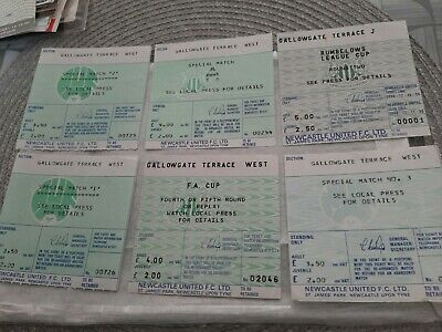 6 NEWCASTLE TICKETS FA RUMBELOWS CUP 1980s