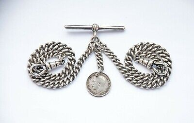 Antique Solid Silver Double Albert Pocket Watch Chain + 1919 Silver Coin Fob