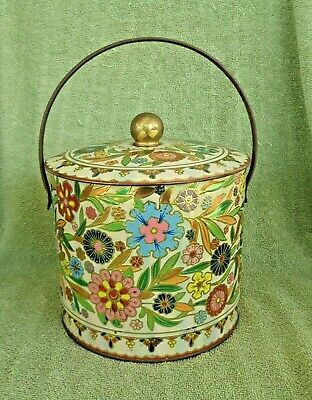 Vintage Handled Tin w/ Lid- Colorful Textured Floral Design- Made in England