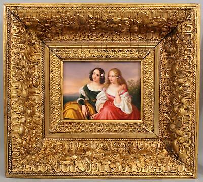 19thC Antique KPM Porcelain Painting Plaque 2 Young Beautiful Woman Sisters