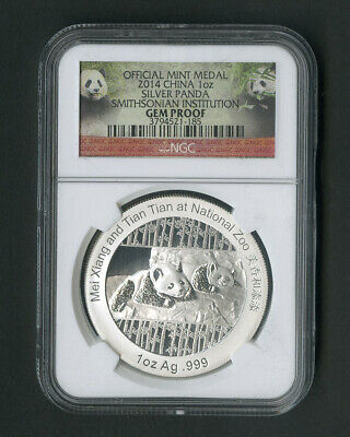 China Coin 2014 1oz Silver Panda Smithsonian Institution gem proof NGC