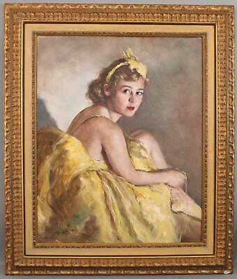 Authentic PAL FRIED Impressionist Portrait Oil Painting  Ballerina in Yellow