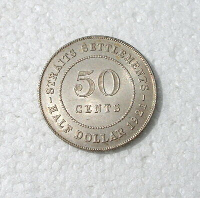 Straits Settlements  (Malaysia) 1921 Silver (.500)  50 Cents - George V