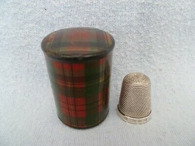 """Mauchline Tartan Ware Thimble Holder """"Prince Charlie"""" With Silver Thimble"""