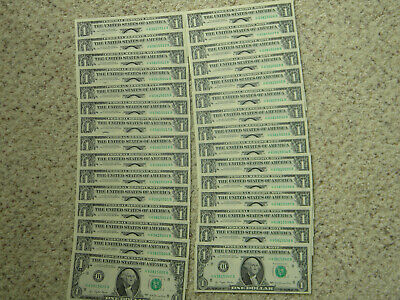 30 Crisp UNC $1notes with consecutive serial numbers  1977  FRN