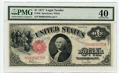 1917 $1 Legal Tender Note (Extremely Fine 40) PMG