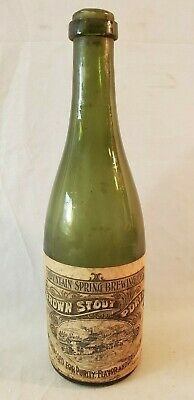 1893 / 1895 Walpole NH Mountain Spring Brewing Brown Stout Porter Beer Bottle NR